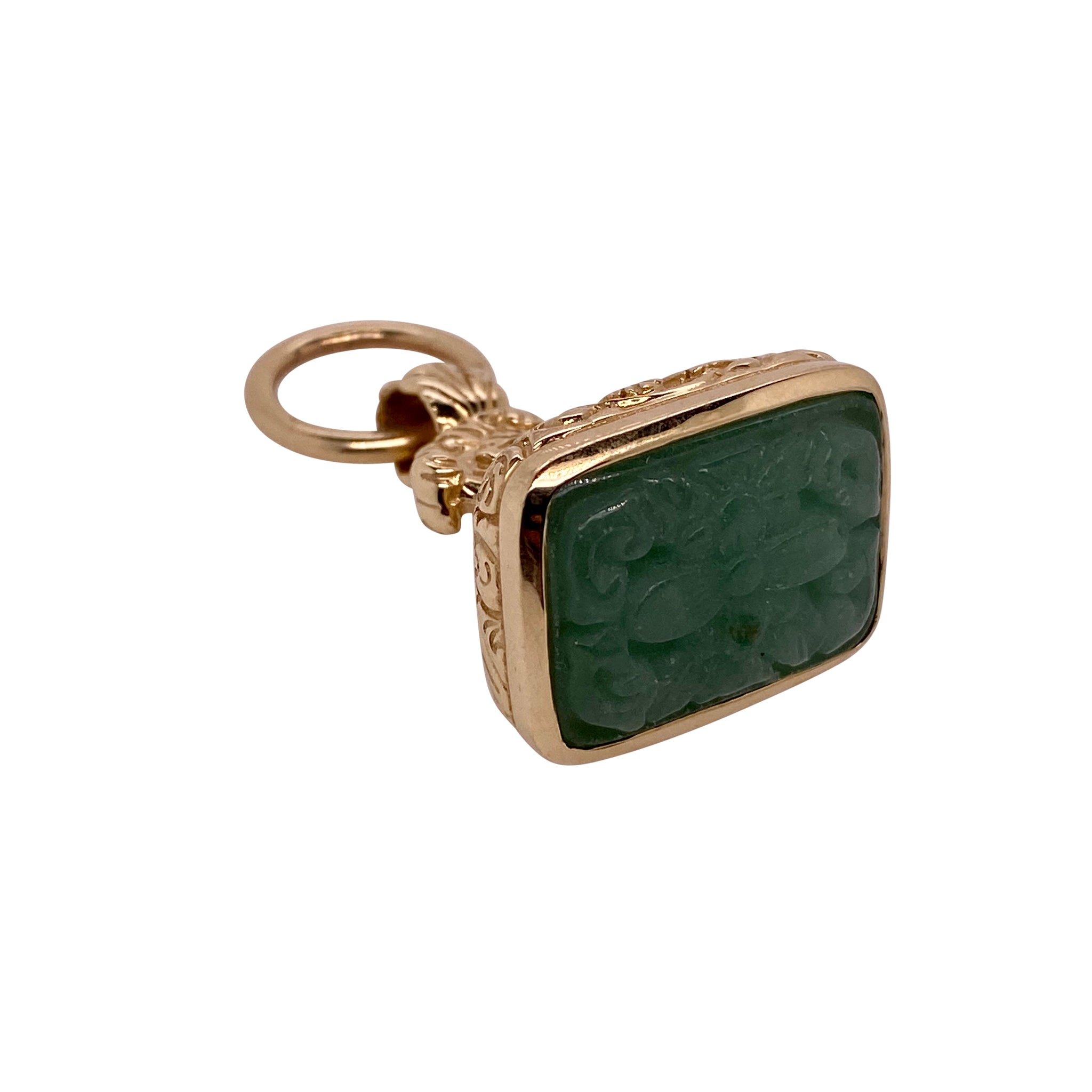 Dudley VanDyke Carved Aventurine 14K Yellow Gold Acanthus Fob