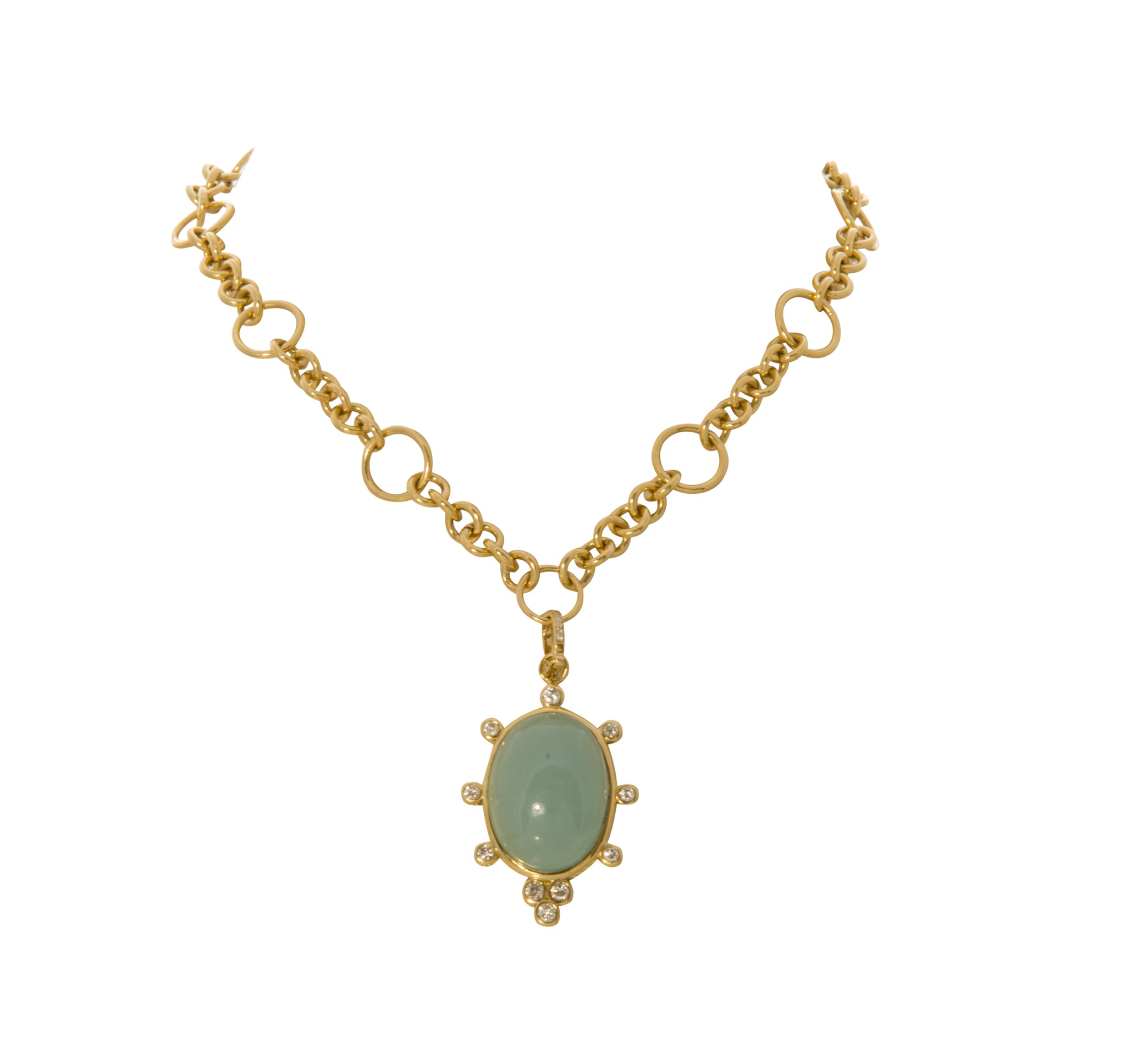Aquamarine Cabochon & Diamond Pendant Necklace