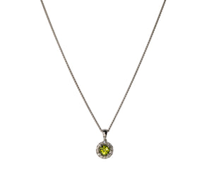 Peridot & Diamond Halo 14K White Gold Necklace