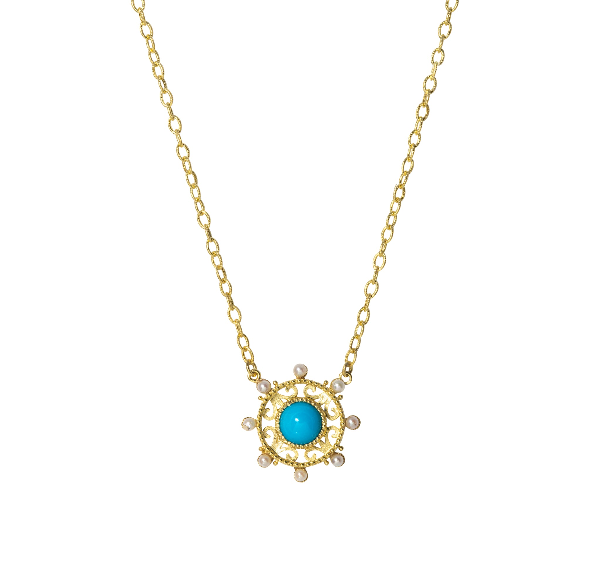 Turquoise & Pearl 14K Yellow Gold Medallion Pendant Necklace