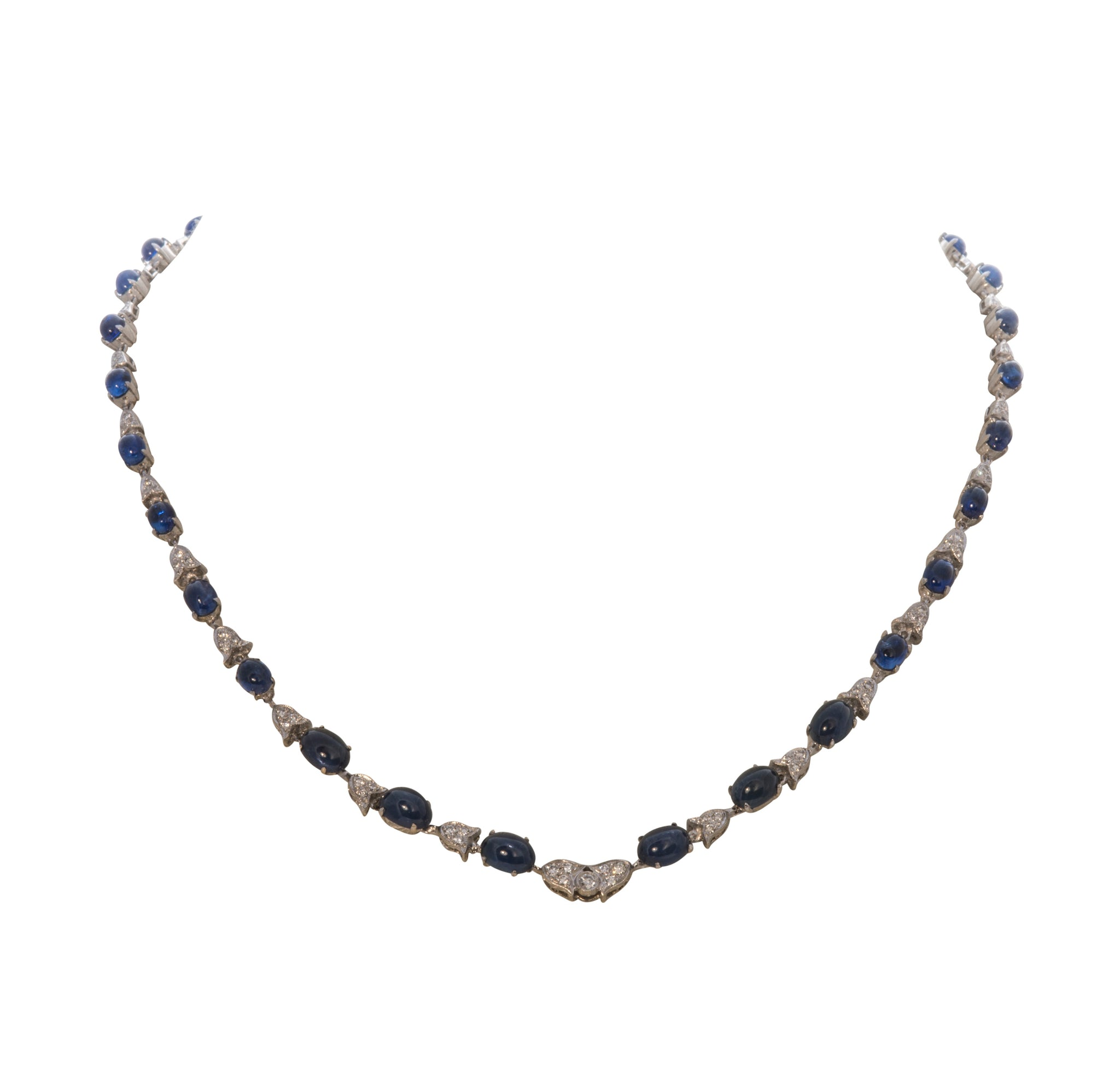 Estate Sapphire Cabochon & Diamond Pendant Necklace