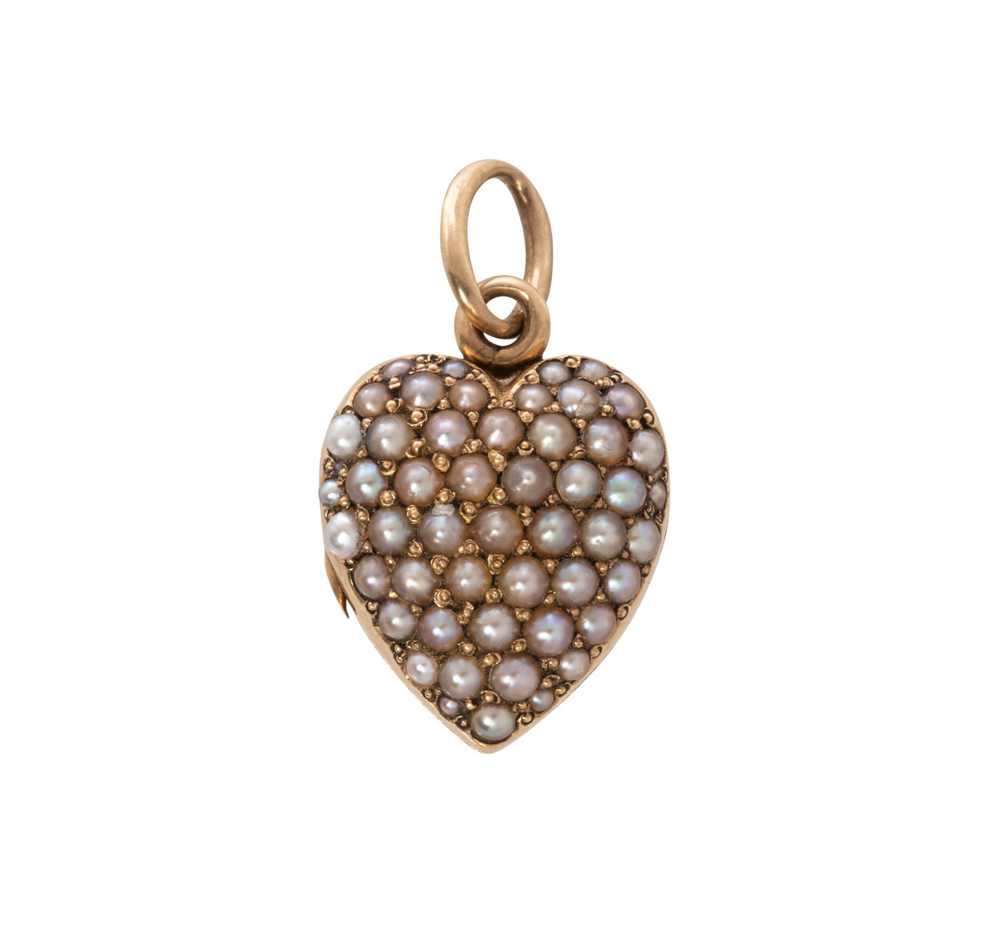 Victorian Seed Pearl 18K Gold Heart Locket