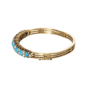 Victorian Turquoise, Pearl & 18K Gold Bangle