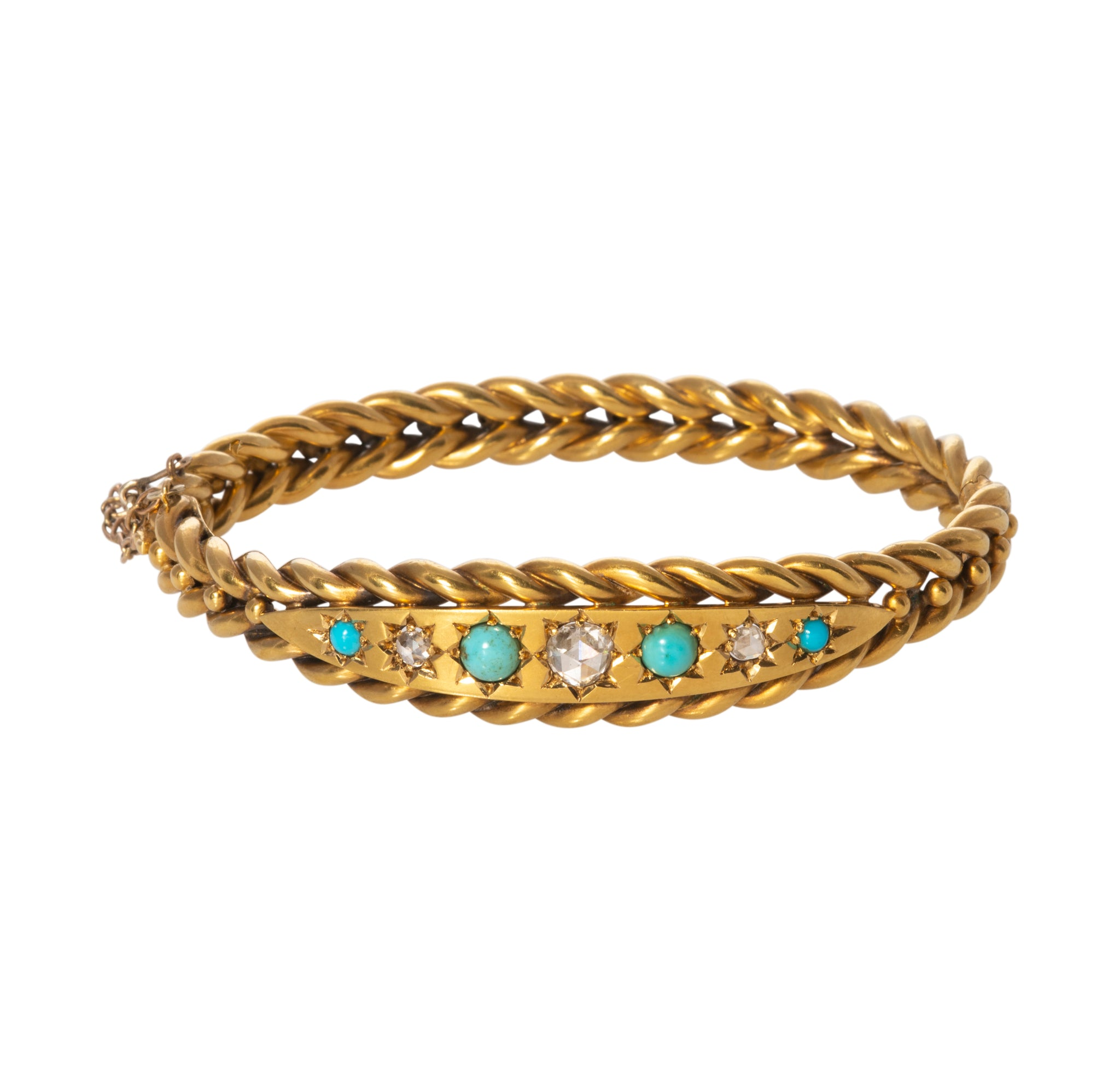 Victorian Diamond, Turquoise & 18K Gold Bangle