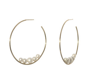 Mizuki Sea of Beauty Large Floating Pearl Hoops