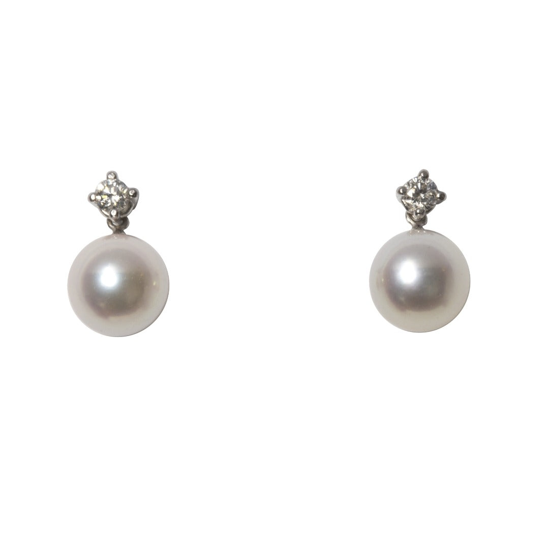 Diamond & 8mm Akoya Pearl Drop Earrings
