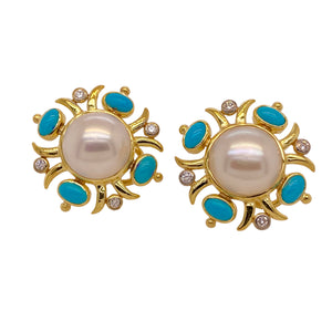 Mazza Mabe Pearl, Turquoise & Diamond Earrings