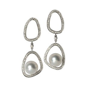 Diamond & Floating South Sea Pearl Drop 14K Gold Earrings
