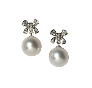 Diamond Bow & South Sea Pearl Drop 14K Gold Earrings