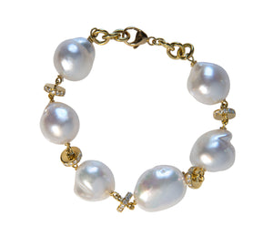 Baroque South Sea Pearl & Diamond 18K Gold Bracelet
