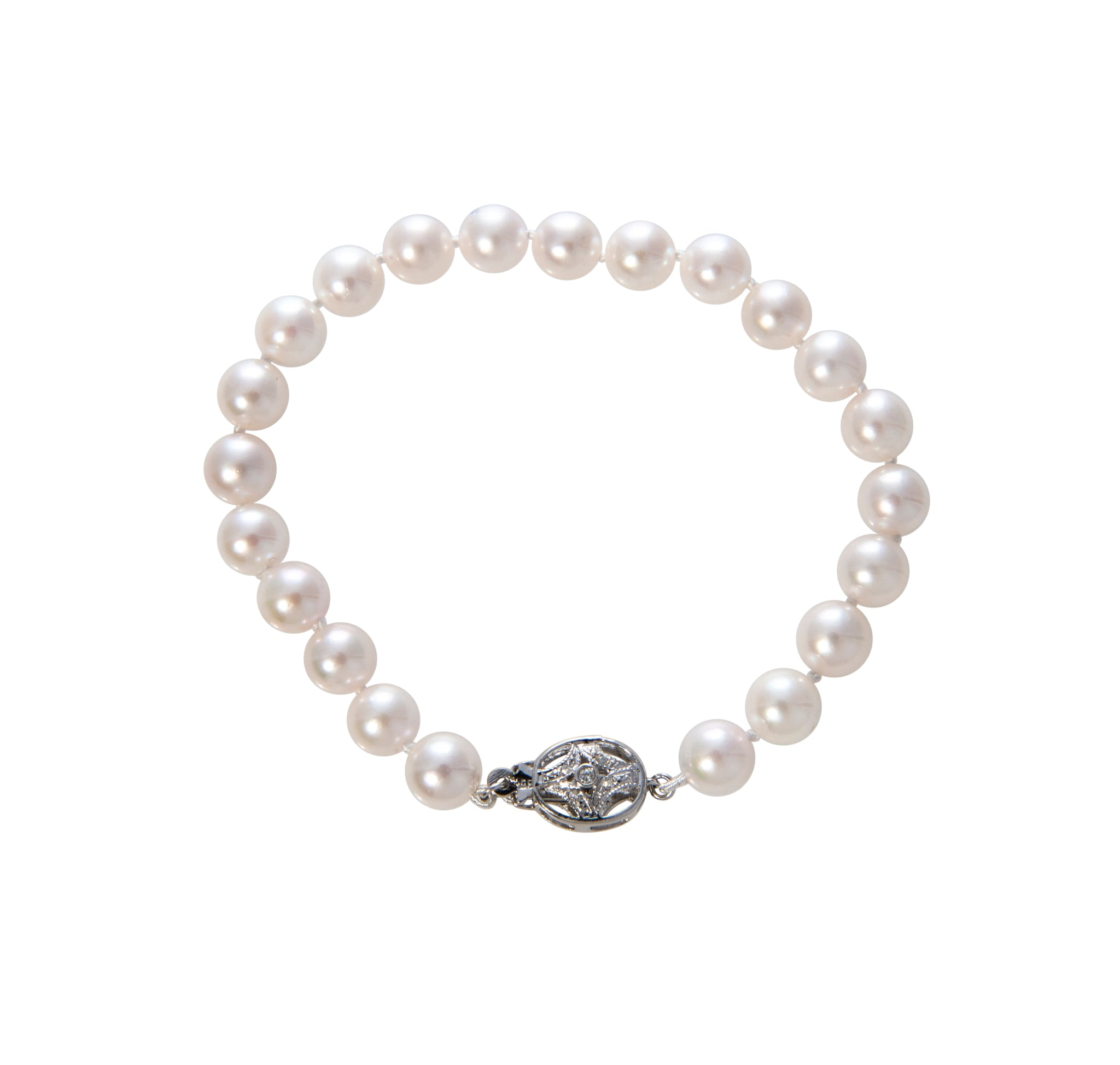 Cultured Pearl & Diamond 14K White Gold Clasp Bracelet