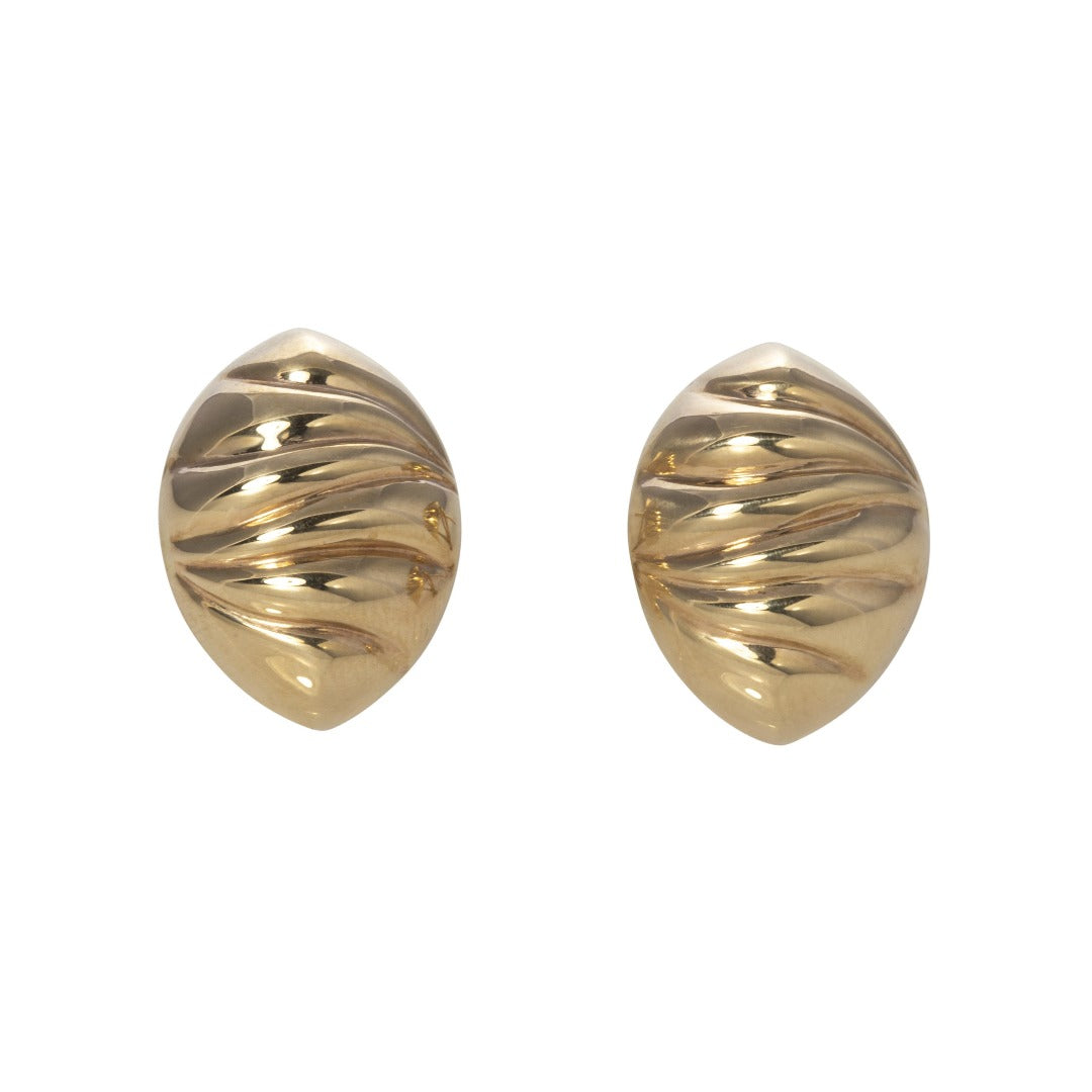 Italian 14K Gold Oval Ribbed Earrings
