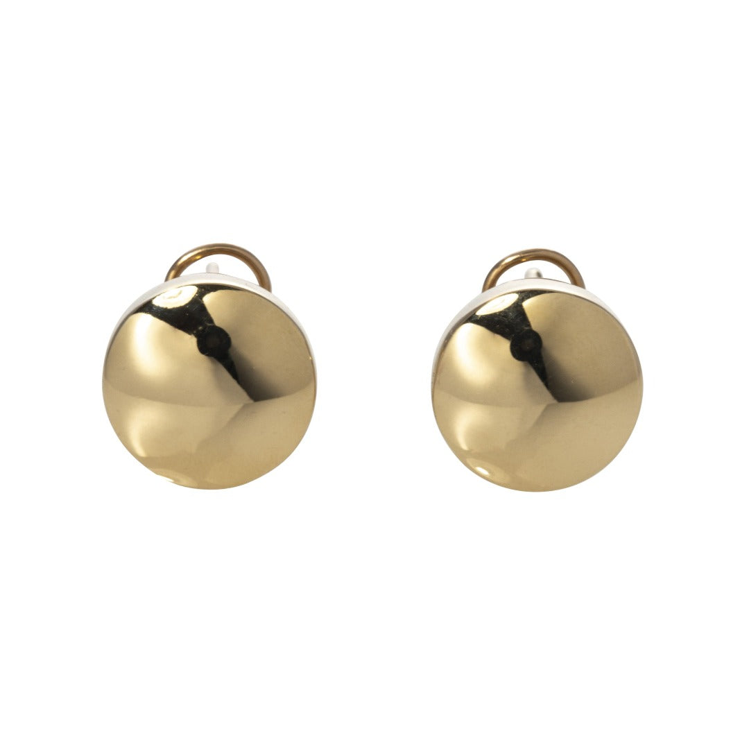 Italian 14K Gold Polished Button Earrings