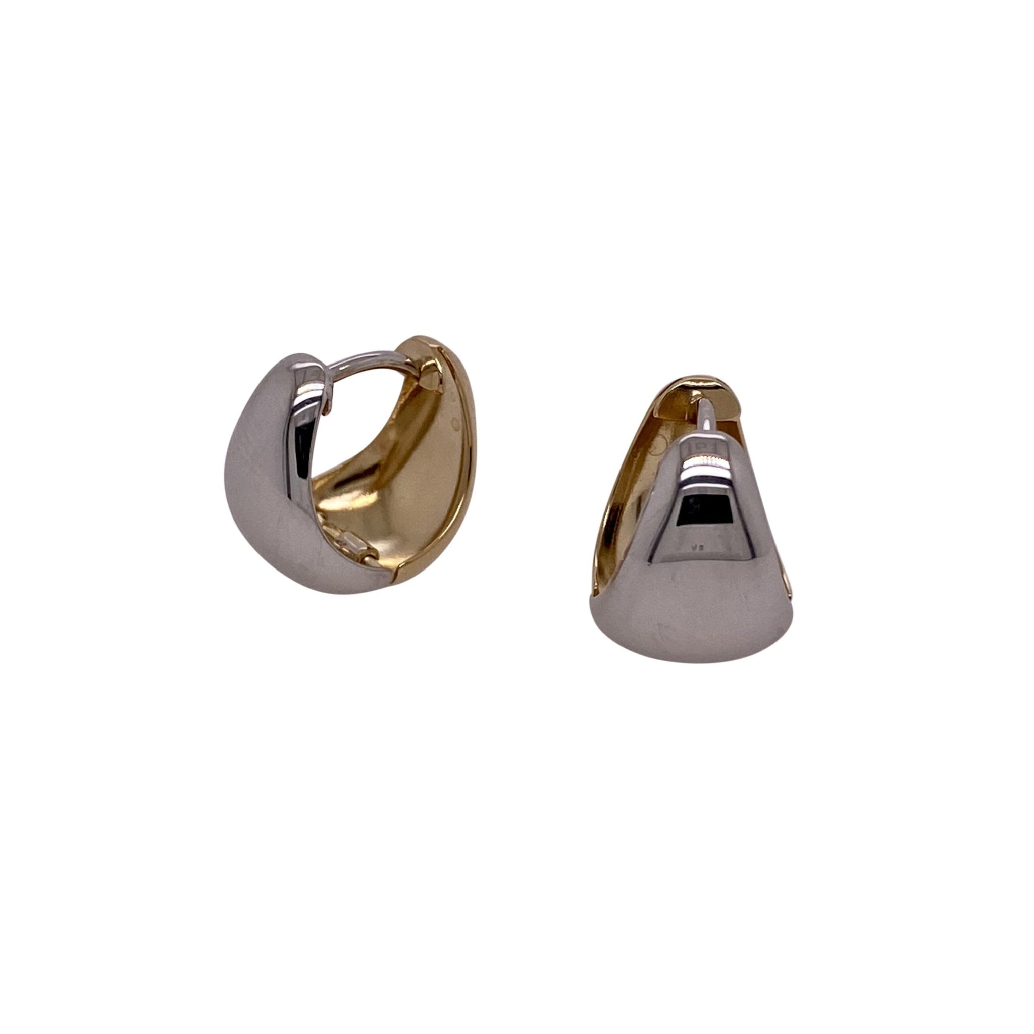 Italian 14K Two-Tone Gold Huggie Hoop Earrings