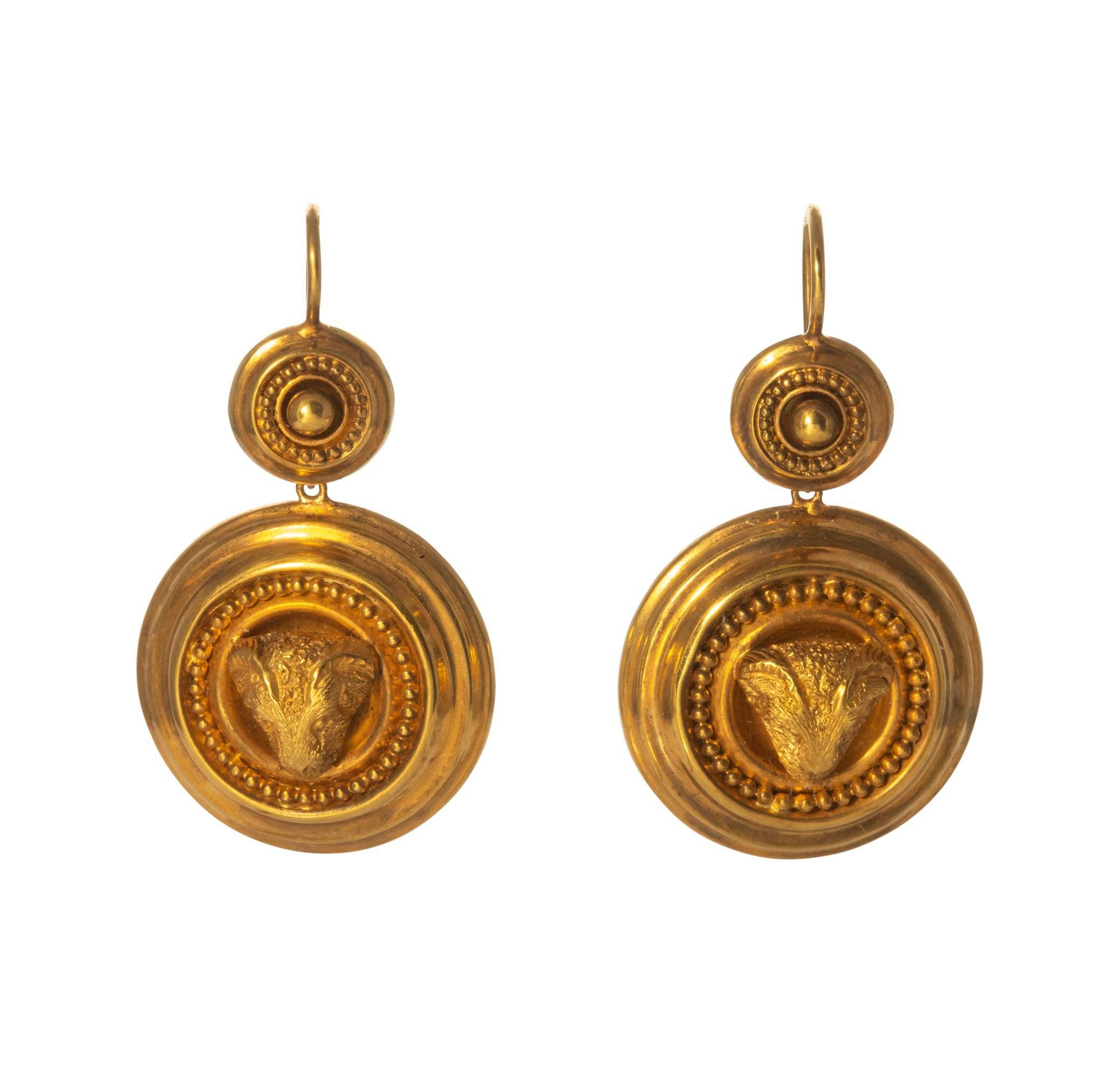 Victorian Etruscan Revival Ram's Head 18K Gold Earrings