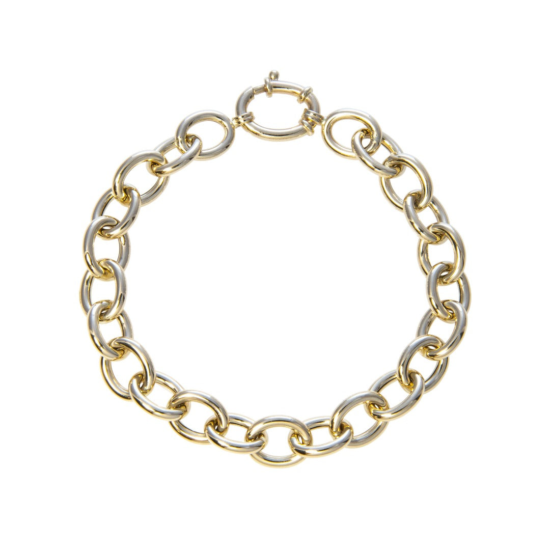 Italian 14K Yellow Gold Small Oval Link Bracelet