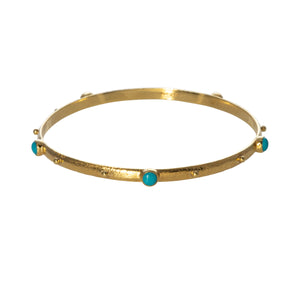 Mazza Turquoise & Hammered 14K Gold Bangle