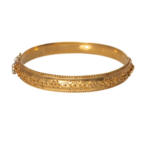 Victorian Etruscan Revival 9K Gold Bangle