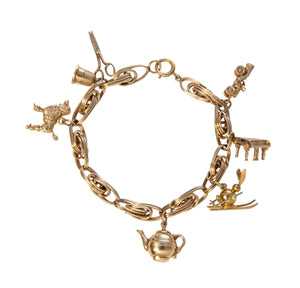 Estate 14K Gold 7-Charm Bracelet