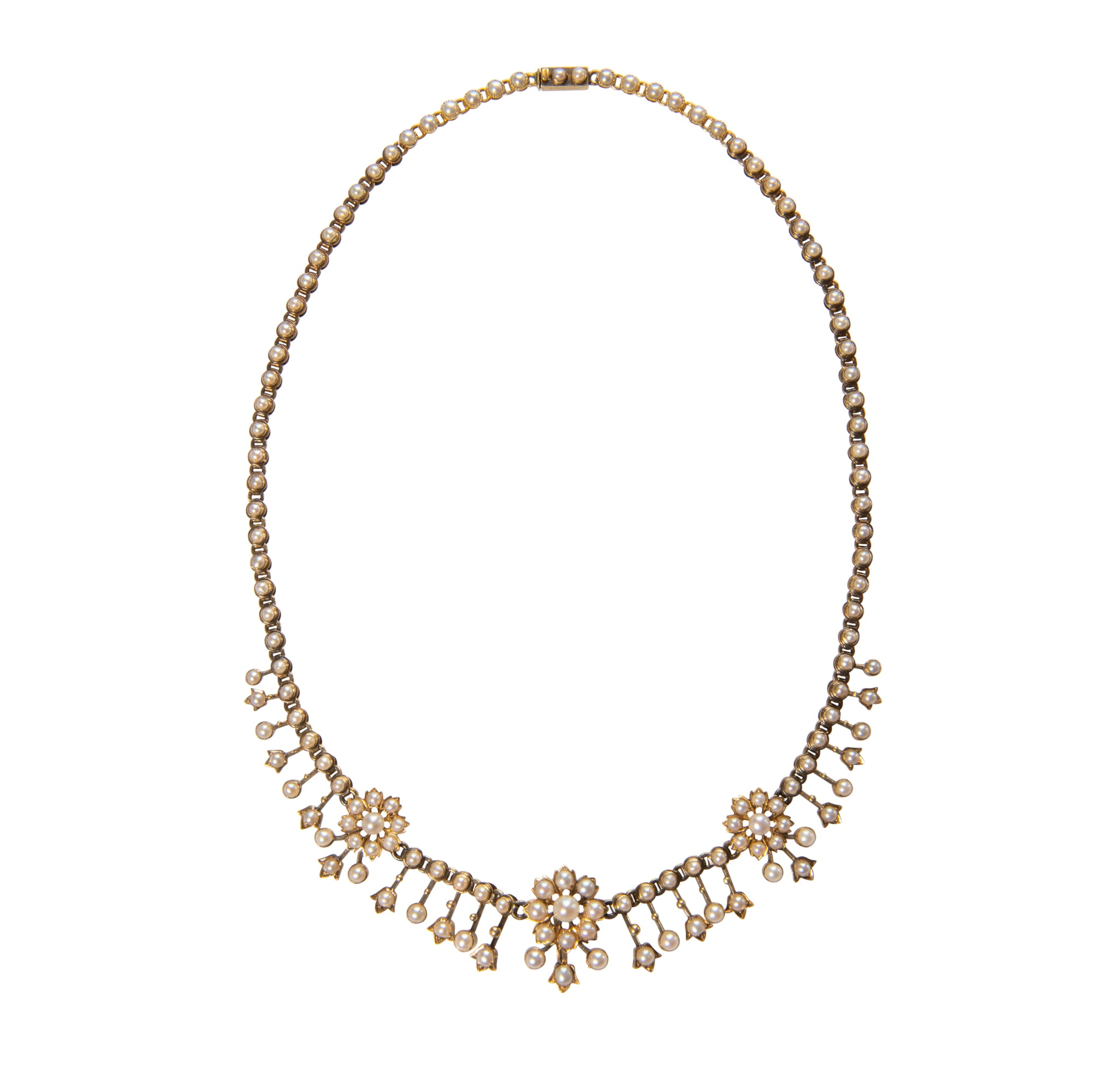 Victorian 15K Gold and Seed Pearl Necklace