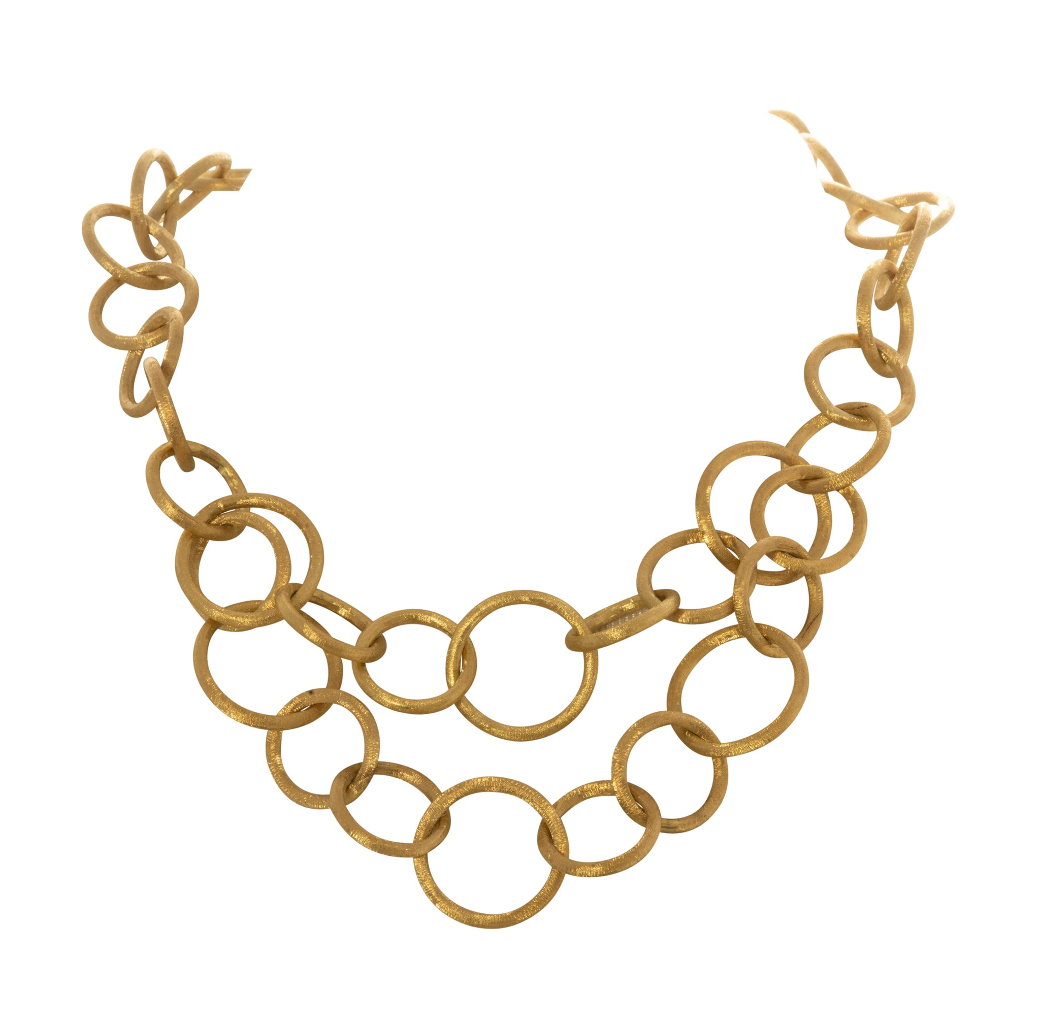 Satin Finish 14K Yellow Gold Circle Link Necklace