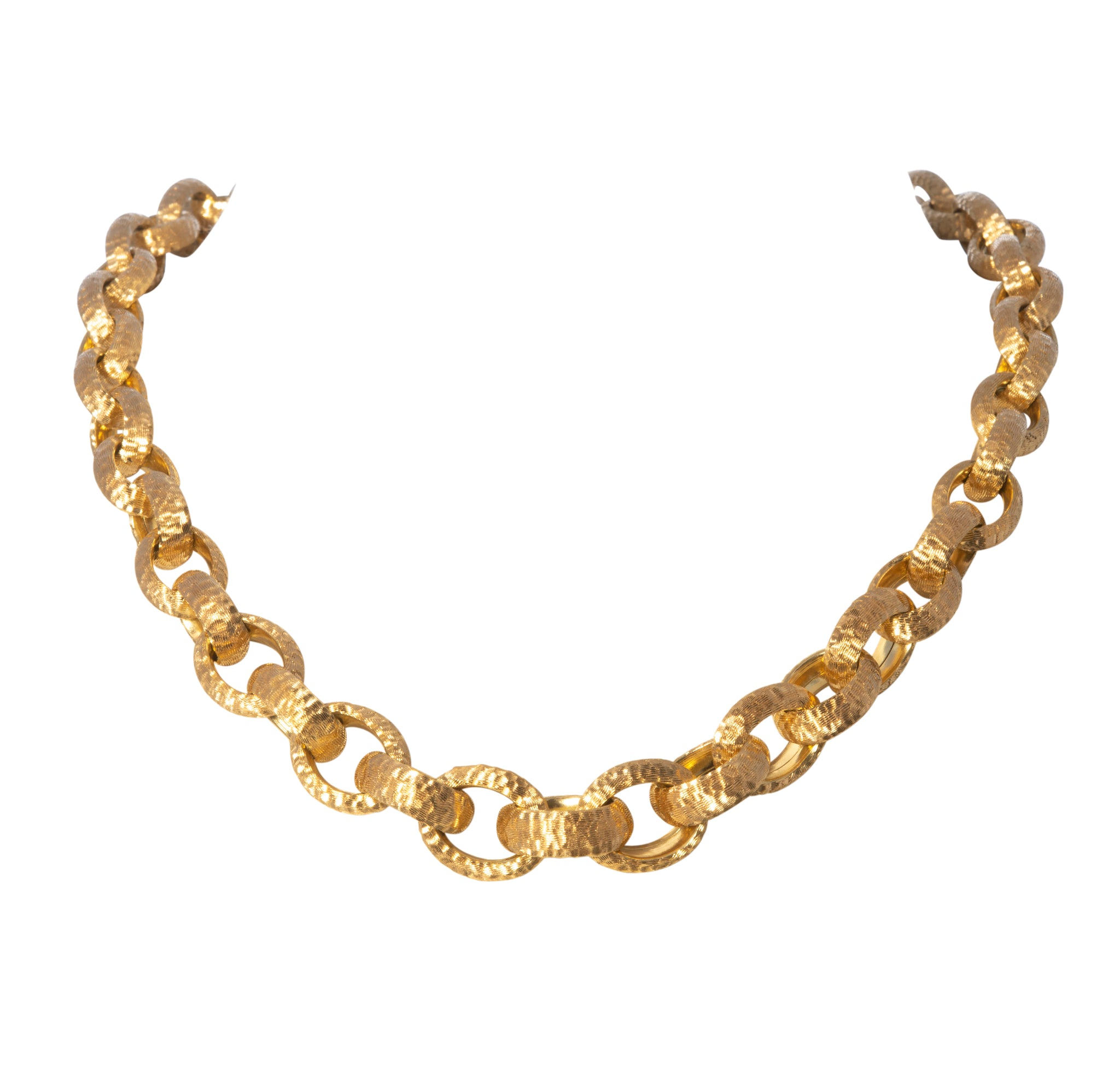 Italian 18K Yellow Gold Hammered Link Necklace