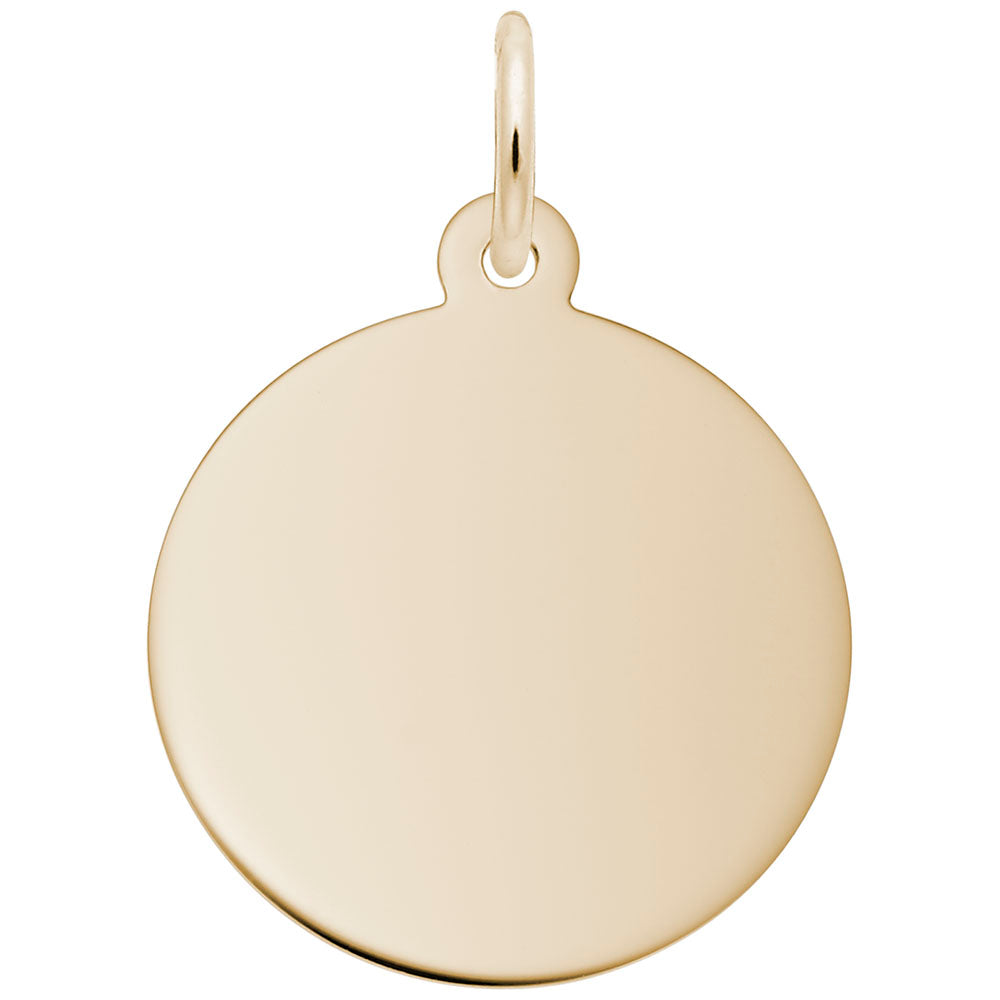 Engravable 14K Gold Small Round Disc Charm