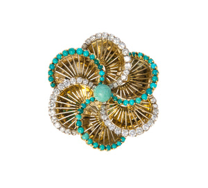 1960s Turquoise & Diamond Spiral Flower Brooch