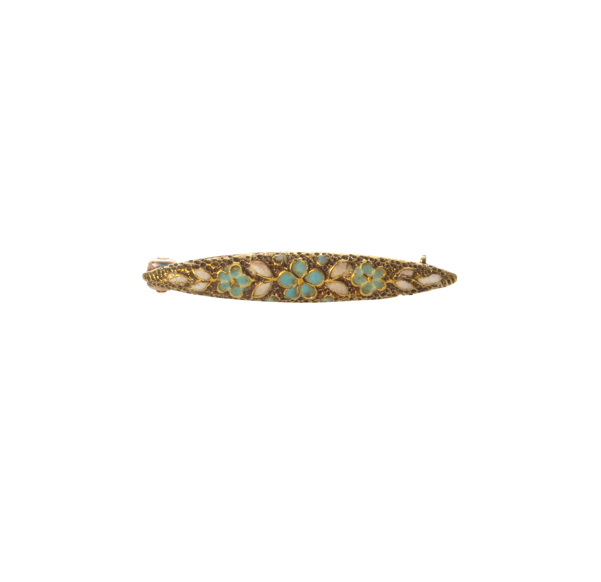 Victorian Floral Enamel 14K Gold Baby Bar Pin