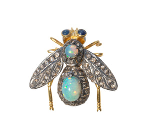 "Victorian-Style Opal & Diamond ""En Tremblant"" Fly Pin"