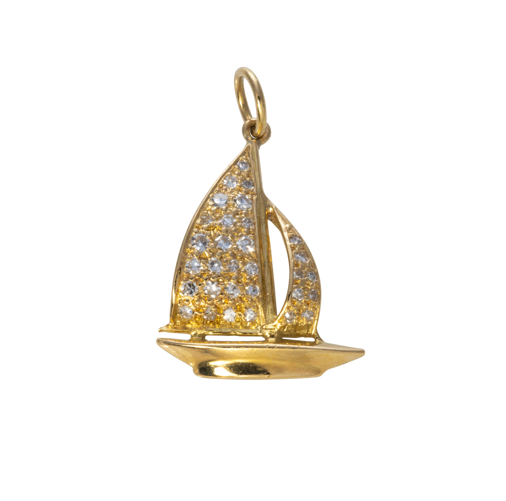 Estate Diamond & 14K Gold Sailboat Charm