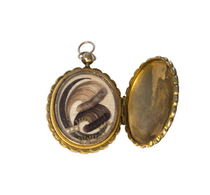 Victorian Hairwork & 10K Gold Mourning Locket