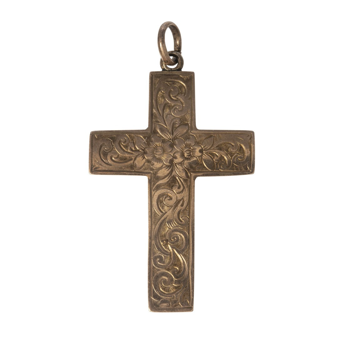 Victorian Engraved 9K Gold Cross Pendant
