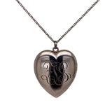 Estate Engraved Sterling Silver Heart Locket Necklace