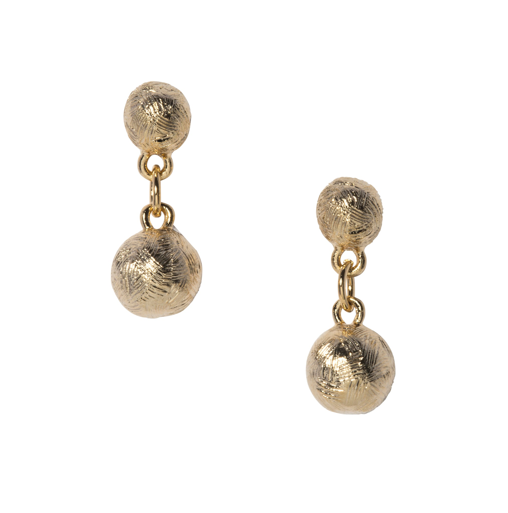 Goldbug Palm Textured Bead Short Drop Earrings