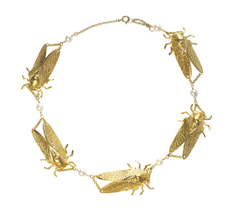 Goldbug Collar Necklace with Pearls