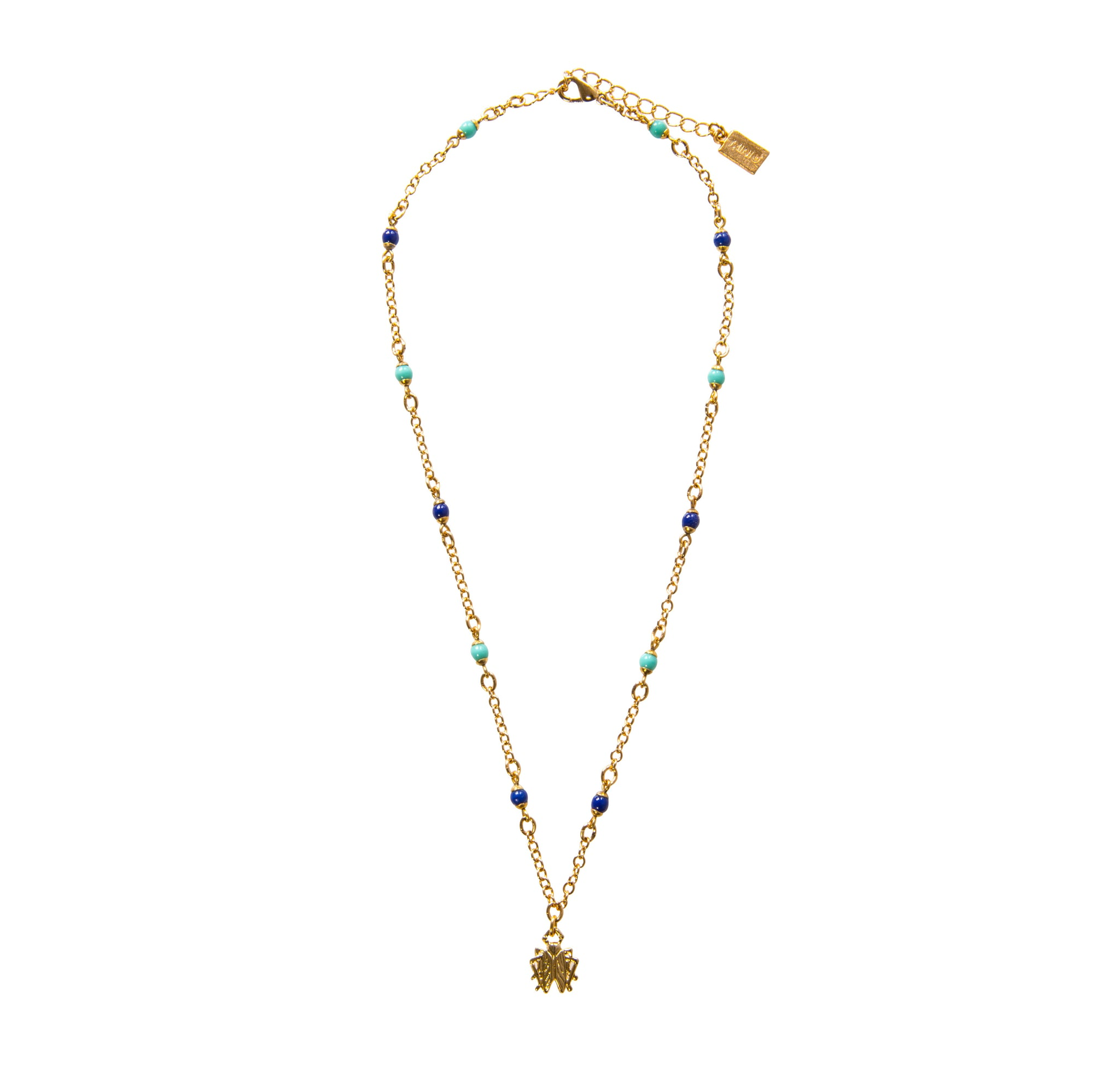 Goldbug Tangled Up In Blue Bead & Tiny Bug Pendant Necklace
