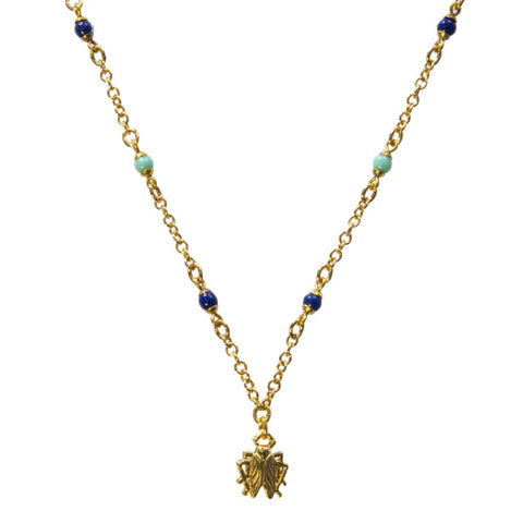 Goldbug Tangled Up in Blue Bead Chain Pendant Necklace