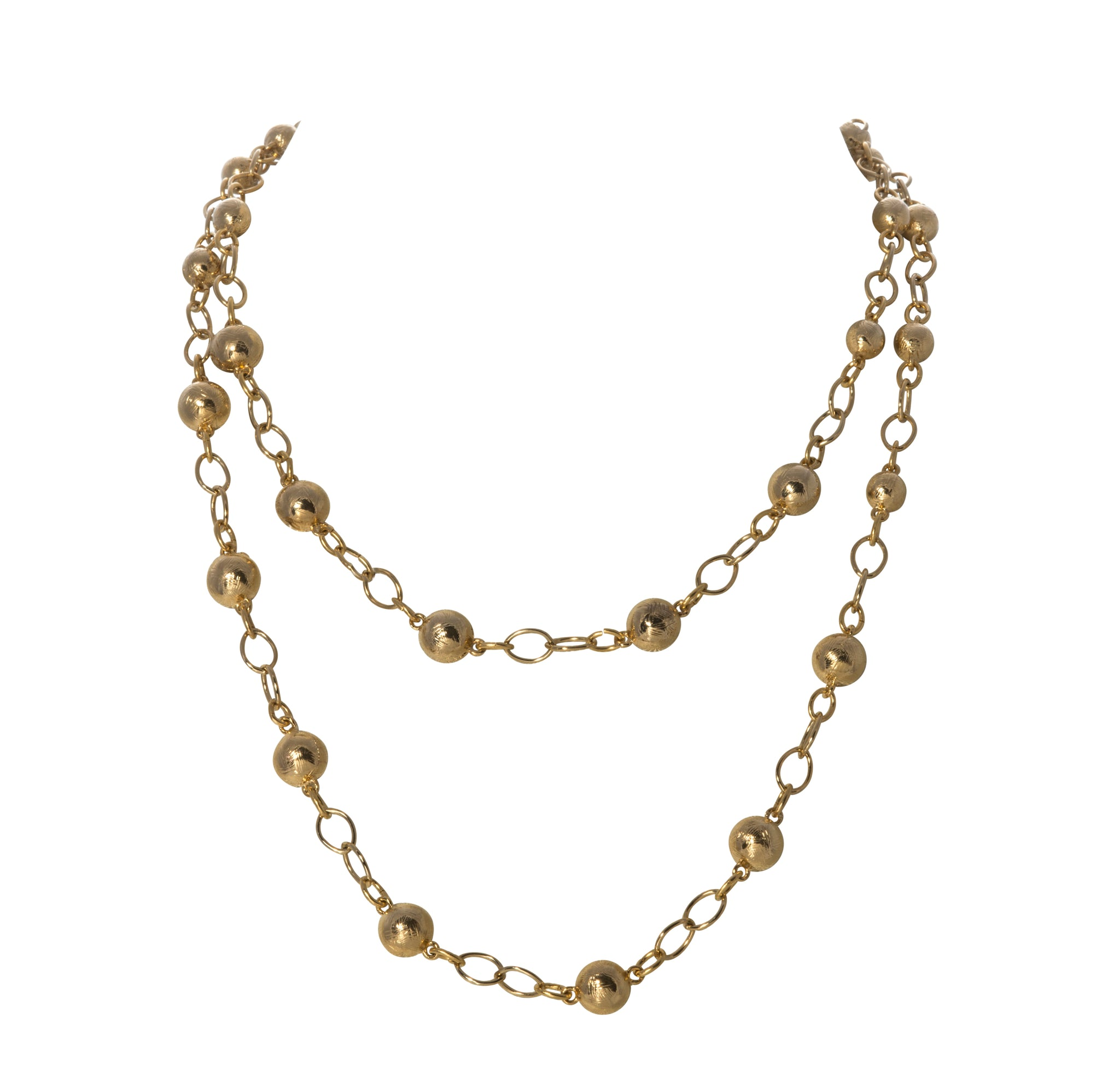 "Goldbug Palm Textured Bead 24"" Necklace"