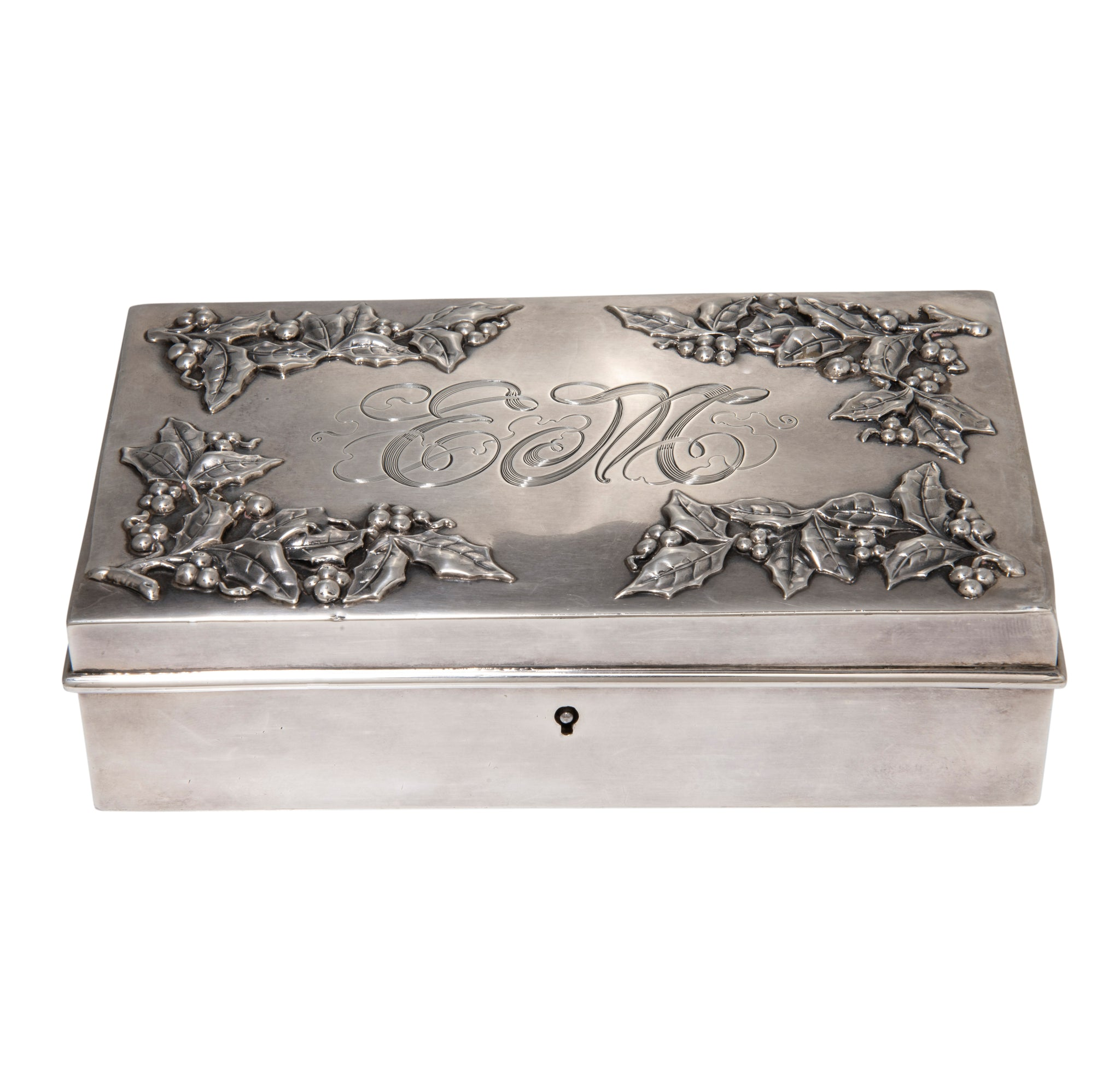 Victorian J.E. Caldwell & Co. Sterling Silver Holly Box