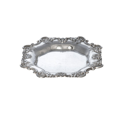 Antique Engraved Monogram Sterling Silver Floral Repoussé Trinket Dish Plate