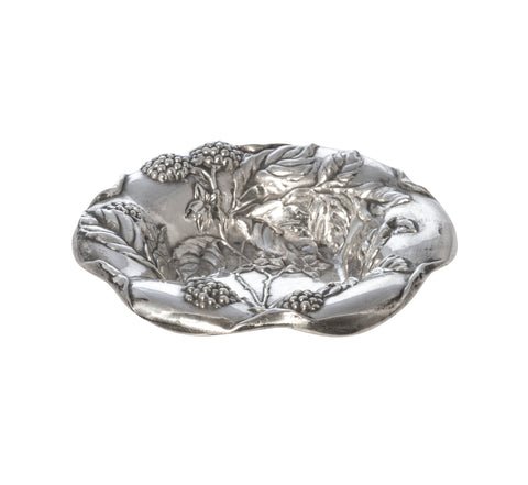 Antique Sterling Silver Grape Vine Repoussé Nut Dish