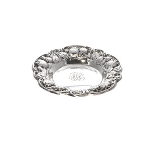 Estate Sterling Silver Strawberry Repoussé Nut Dish