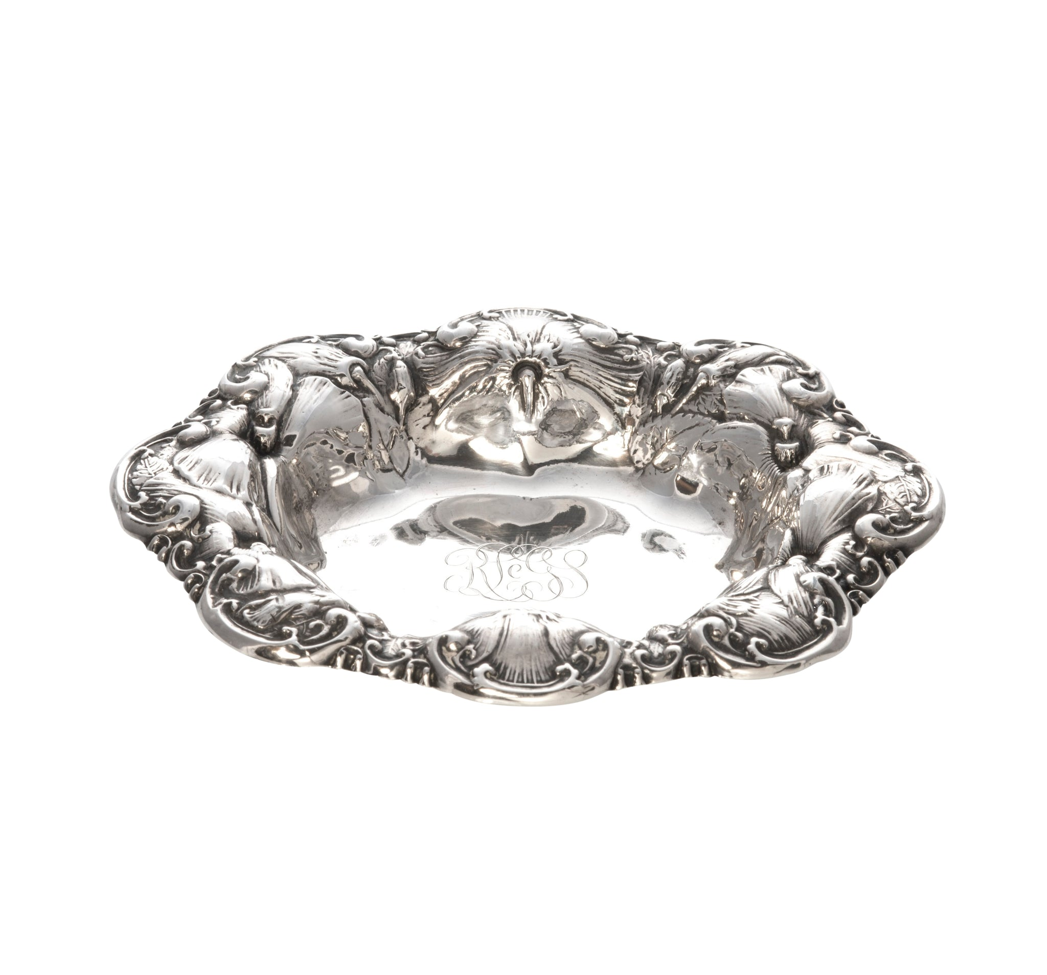 Estate Sterling Silver Hibiscus Repoussé Engraved Nut Dish