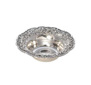 Estate Sterling Silver Floral Repoussé Nut Dish