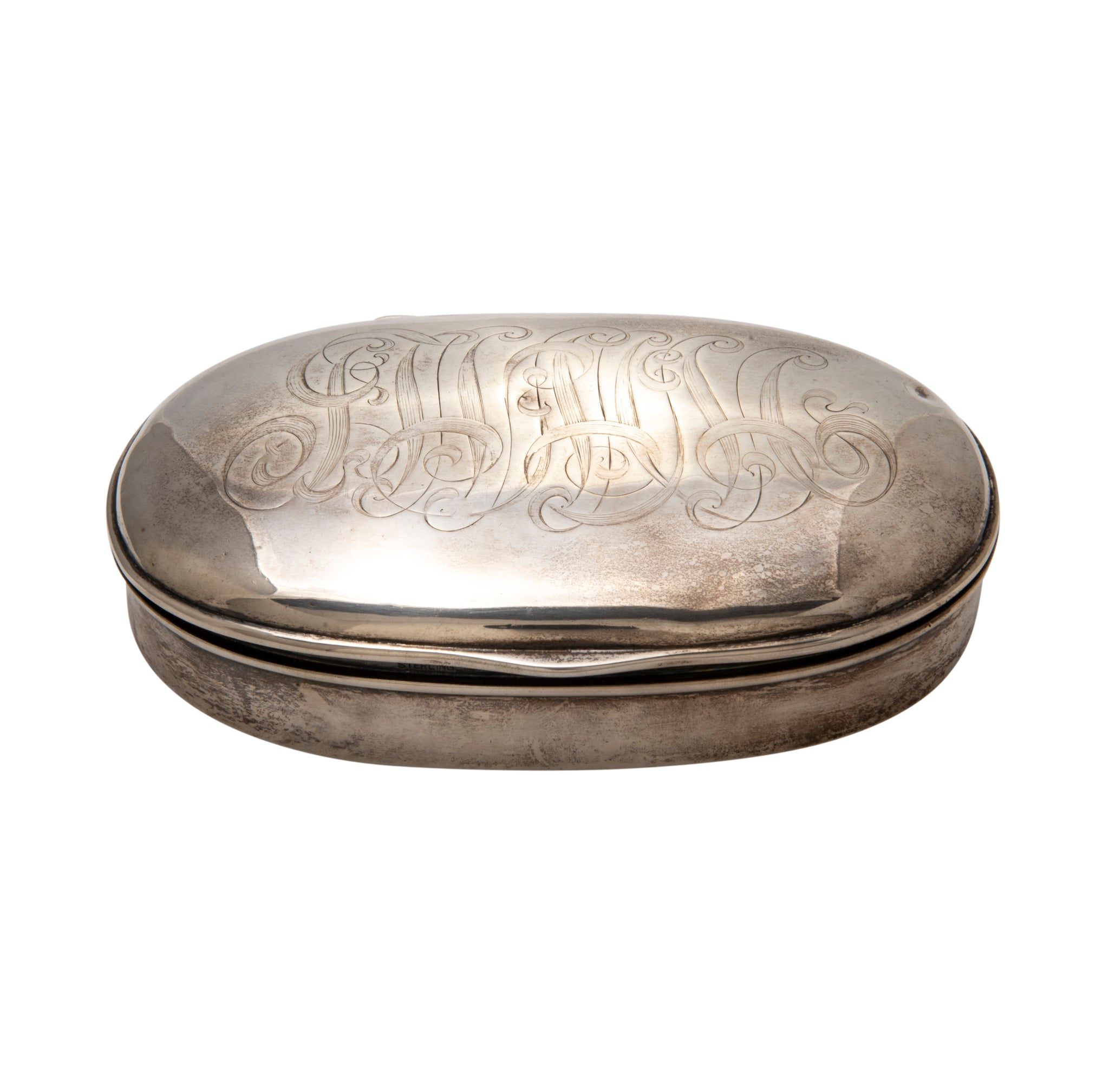 Estate Engraved Sterling Silver Oval Box