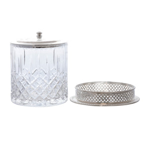 English Crystal Silver Plated Biscuit Jar