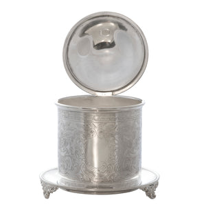 Antique English Silver Plated Biscuit Barrel Box