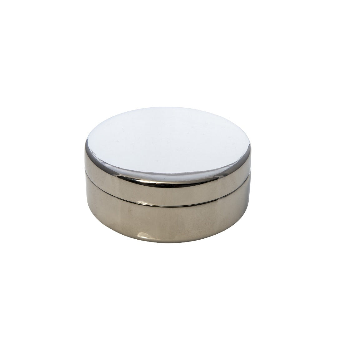 Round Silver-Plated Trinket Box