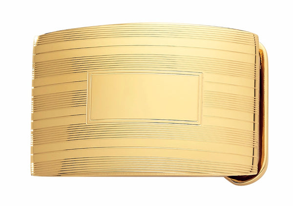 Engine Turned Gold Plated Belt Buckle